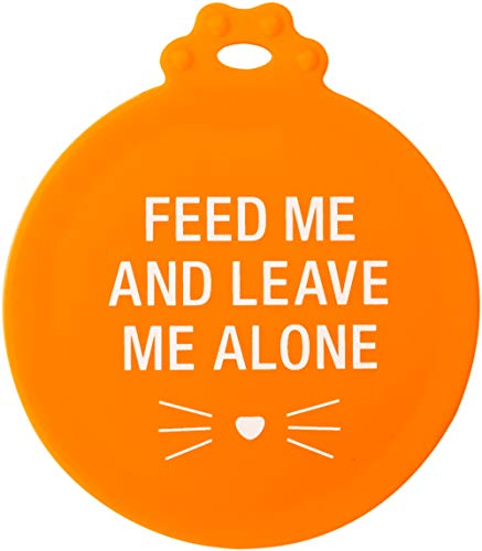 About Face Designs Feed Me and Leave Me Alone On Orange Silicone Food Can Cover