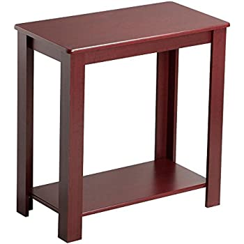 yaheetech 2 tier chairside end table with lower storage shelf for small spaces wine. Black Bedroom Furniture Sets. Home Design Ideas