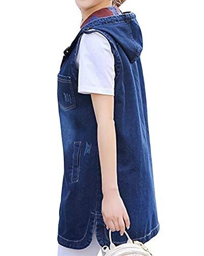 Glamorous Denim Casuale Moda Autunno Gilet Haidean Donna Vintage Outerwear Eleganti Baggy Cappotto Giovane Giacche Incappucciato Primaverile Semplice Blau Smanicato Jeans aR14wqR7