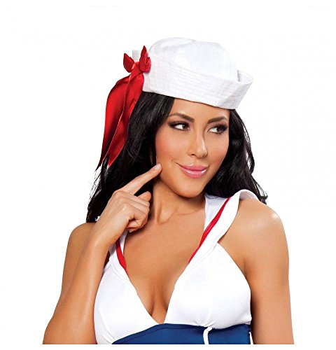 Roma Costume Sailor Hat with Red Ribbon Costume, White, One Size -