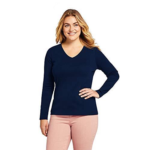 (Lands' End Women's Plus Size All Cotton Long Sleeve T-Shirt Rib Knit V-Neck, 1X, Radiant)