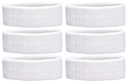 Unique Sports Headbands Team, 6-Pack, White