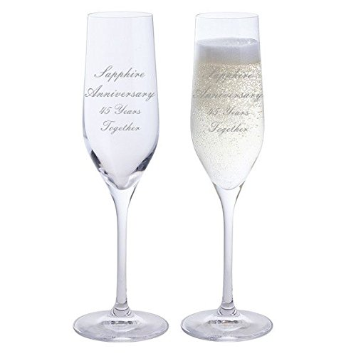 2 Sapphire Anniversary 45 Years Together Pair of Dartington Champagne Flutes Glasses Chichi Gifts