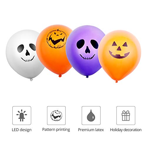 LED Balloons - 30pcs Light Up Balloons Halloween Ghost Balloon with 4 Spooky Patterns, White Orange Purple Colour, Latex Balloon Glows Up to 12 Hours Lamps Party Home Garden Lantern Halloween Decors. by TOKKY