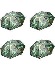 ZffXH 4 pcs Umbrella Hats Folding Sun Rain Caps Fishing Free Hands Beach Outdoor