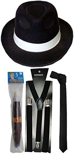 [1920s GANGSTER BRACES TIE HAT & CIGAR ROARING 20's PIMP FANCY DRESS Outfit (Black Full Set 4 Pcs)] (20s Costumes Male)