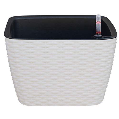 TABOR TOOLS Square Self-Watering Planter, Modern Decorative Planter Pot for Outdoor or Indoor Garden. Elegant Plastic Wicker Rattan Look Design. TB603A. (White)