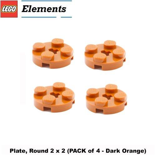 Lego Parts: Plate, Round 2 x 2 (PACK of 4 - Dark Orange)