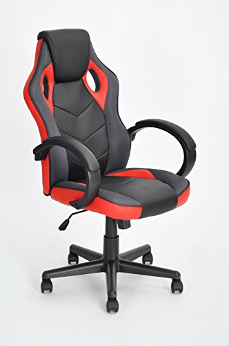 Executive Racing Style Office Chair PU Leather Swivel Computer Desk Seat High-Back Gaming Chair in Black and Red