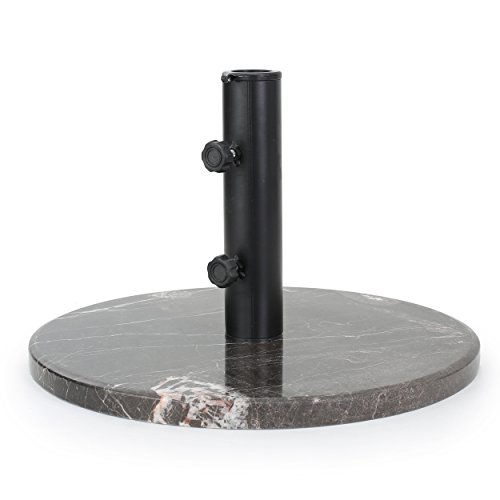 Saxony Outdoor Coffee Granite and Black Steel Unbrella Base by GDF Studio