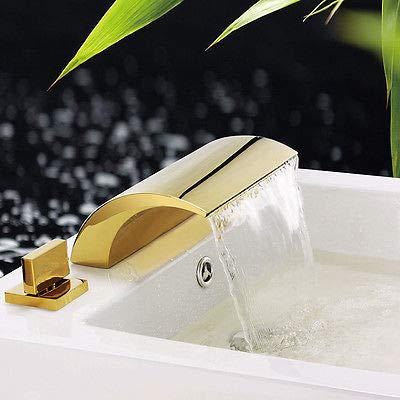 Pcs Roman Tub - FidgetFidget Gold PVD 3 pcs Widespread Waterfall Bathroom Bath Roman Tub Faucet