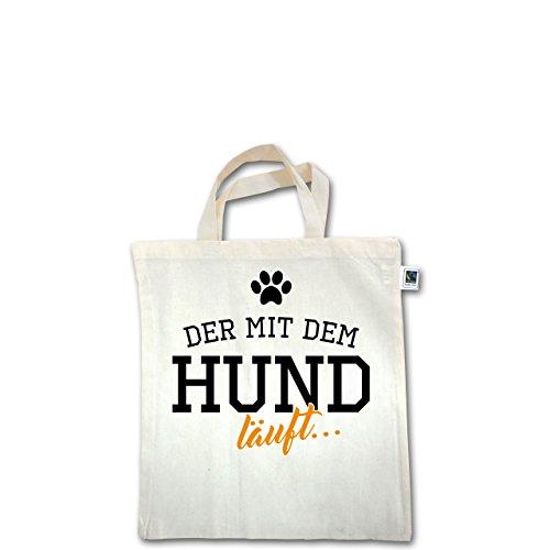Hunde - Der mit dem Hund läuft - Unisize - Natural - XT500 - Fairtrade Henkeltasche / Jutebeutel mit kurzen Henkeln aus Bio-Baumwolle