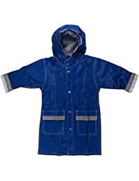 Boys Girls Hooded Waterproof Long Raincoat Full Length Rain Jacket for Children and Toddler with Reflective Stripes