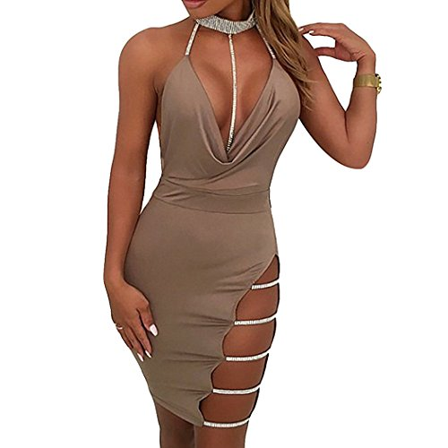 XWDA Women's Sleeveless Halter Bandage Bodycon Evening Party Cocktail Short Mini Dress (Cocktail Mini Evening Dress)