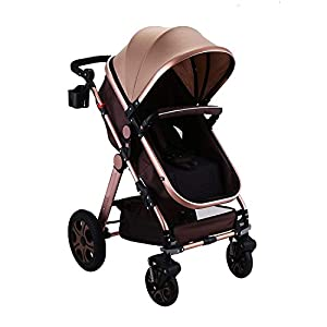 BuoQua 2in1 Baby Stroller Portable Baby Carriage Stroller Foldable Luxury Baby Stroller Adjustable High View Pram Travel…
