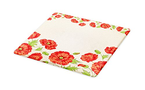 Ambesonne Floral Cutting Board, Illustration of a Card with Poppy Flowers Floral Arrangement Pattern Artwork, Decorative Tempered Glass Cutting and Serving Board, Large Size, Red and (Poppy Arrangement)
