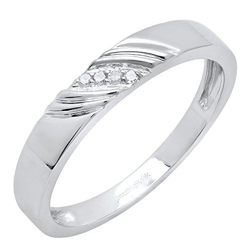 0.05 Carat (ctw) 10K White Gold Round White Diamond Men's Anniversary Wedding Band (Size (Diamond Accent Enhancer)