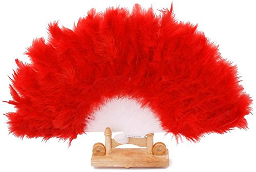 [BleuMoo Soft Fluffy Lady Burlesque Wedding Hand Fancy Dress Costume Dance Feather Fan (Red)] (Fan Costumes)