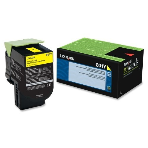 "Lexmark International, Inc - Lexmark 801Y Yellow Return Program Toner Cartridge - Yellow - Laser - 1000 Page - 1 Each ""Product Category: Print Supplies/Ink/Toner Cartridges"""