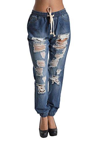 G-Style USA Women's Destructed Denim Jogger Pants RJJ328 - BLUE - 2X-Large - D8B