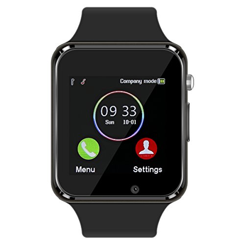 Smart Watch - 321OU Touch Screen Bluetooth Smart Wrist Watch Smartwatch Phone Fitness Tracker with SIM SD Card Slot Camera Pedometer for iPhone iOS Samsung LG Android for Women Men Kids (Black) by 321OU (Image #1)