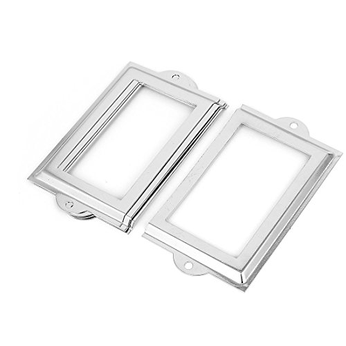 Uxcell Metal 105x60mm File Drawer Tag Label Holder Name Card Frame, 5 Pieces (Silver Metal Name Tag)