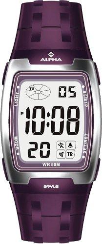 Alpha Saphir Alpha Saphir 175F - Reloj digital de caballero de cuarzo con correa de goma lila (cronómetro, alarma) - sumergible a 50 metros: Amazon.es: ...