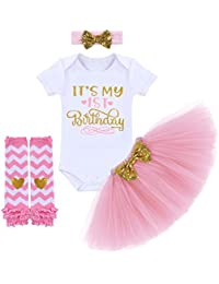 e077bcfdca Birthday Outfit Baby Girls Romper+Ruffle Tulle Skirt+Sequins Bow  Headband+Leg Warmers