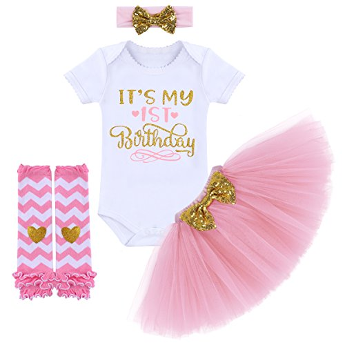 It's My 1/2 / 1st / 2nd Birthday Outfit Baby Girls Romper + Ruffle Tulle Skirt + Sequins Bow Headband + Leg Warmers Socks Party Dress up Costume 4Pcs Photo Cake Smash Clothe Set Pink 1 Year ()