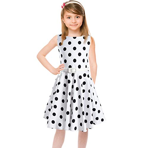 Girls 50s Sleeveless Vintage Girls Dresses Polka Dot Swing Rockabilly Summer Dresses for Party Special Occasion -