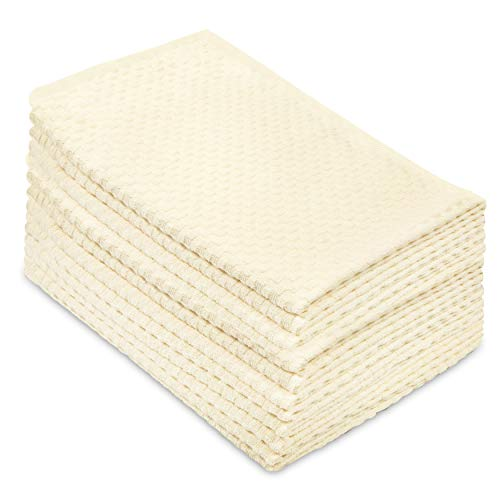 Cotton Craft - 12 Pack - Euro Cafe Waffle Weave Terry Kitchen Towels - 16x28 Inches - Ivory - 400 GSM Quality - 100% Ringspun 2 Ply Cotton - Highly -