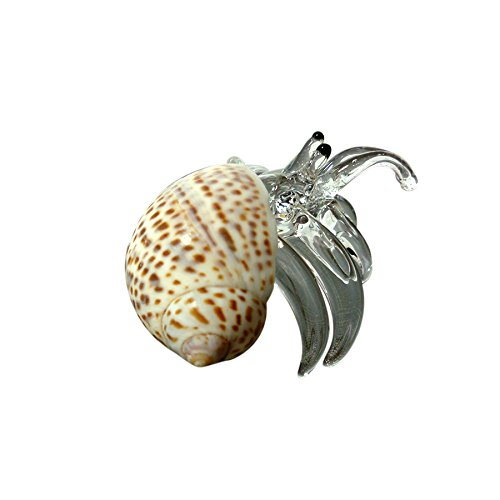 Sansukjai Seashell Hermit Crab Figurines Beach Animals Hand Blown Glass Art Natural Collectible Gift Decorate#6