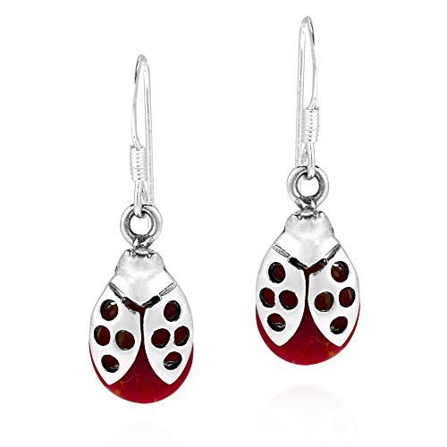 Summer Love Ladybug Reconstructed Red Coral Stone .925 Sterling Silver Dangle Earrings