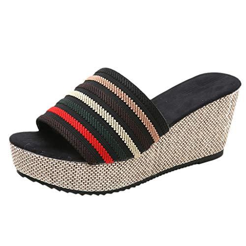 ♡QueenBB♡ Women's Espadrille Platform Wedge Heel Peep Toe Striped Sandals Bohemian Summer Fashion Slippers Black