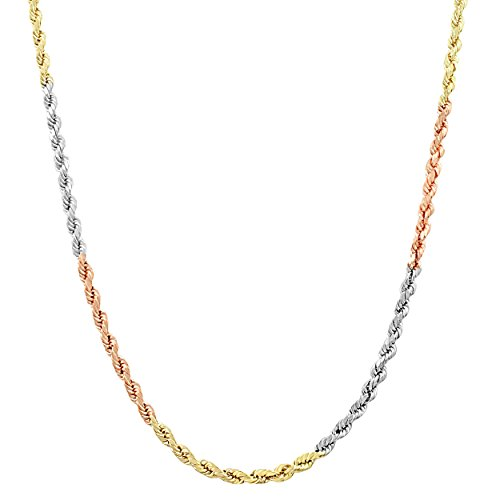 Kooljewelry 10k Tri-Color Gold 2 mm Hollow Rope Chain Necklace (24 inch)