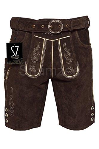 SHAMZEE Trachten Lederhose in Braun farbe inklusive Gürtel Echt Leder SHAMZEE lederhosen Gr. 46-62 (62, Braun)