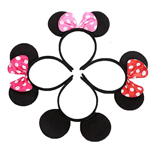 Set of 12 Mickey Minnie Mouse Costume Deluxe Fabric Ears Headband Red Rose Pink Bow Boys Girls Birthday Party Hairs Accessories Baby Shower Headwear Halloween Party Favors Decorations (4 colors mixed) ()