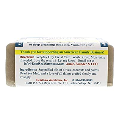 Dead Sea Warehouse - Amazing Minerals Mud Intensive Facial Care Bar, Hand Poured with the Highest Concentration of Deep Cleansing Dead Sea Mud