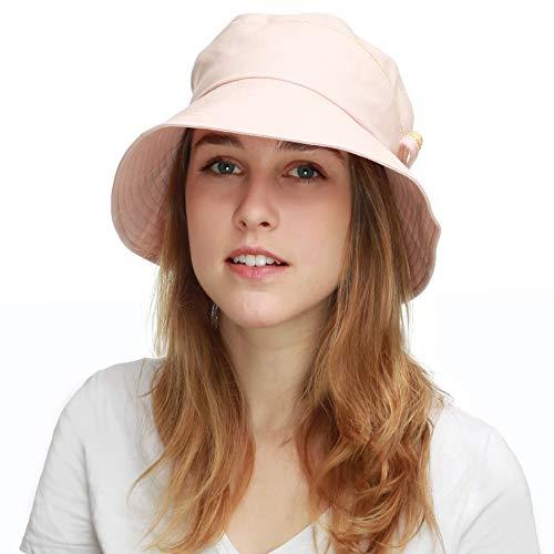 Ladies Packable Women's Wide Brim Sun Bucket Hat (Perrine-Coral)