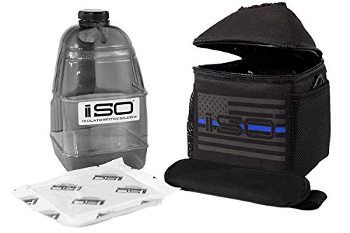 Combo Jugs (ISOJUG COMBO Thin Blue Line - Insulated One Gallon Water Jug Cover Holder AND One BPA Free Gallon Jug with ISOBRICK Ice Pack & Shoulder Strap)