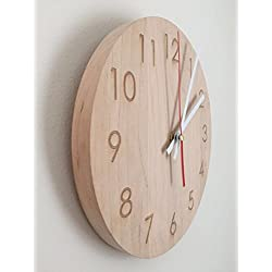Modern Wall Clock Handmade Natural Maple