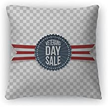 """Gear New Throw Pillow Accent Decor, Veterans Day Sale Greeting Label And Ribbon, 20"""" Cover Only, 6599944GN"""