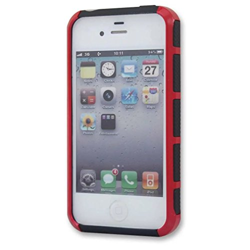 iPhone 4 Coque,iPhone 4S,Lantier Mode Armure mignon 2 en 1 double couche hybride Couverture rigide antichoc pour Apple iPhone 4 4S Rouge + Noir