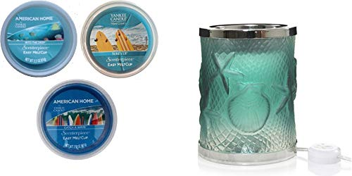 Yankee Candle Coastal Shores Scenterpiece with LED and Timer Gift Set with a Catch A Wave, Surf's Up, and Into The Deep Meltcups from Yankee Candle