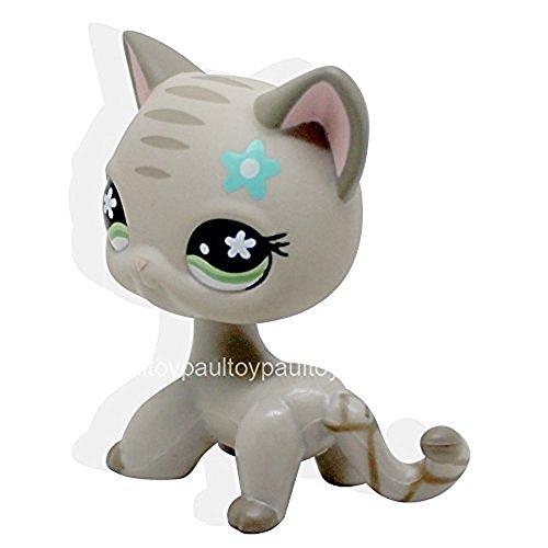 #483 RARE Littlest Pet Shop LPS Gray Short Hair CAT Green Eyes Blue Flower TOY (Cat Little Gray)