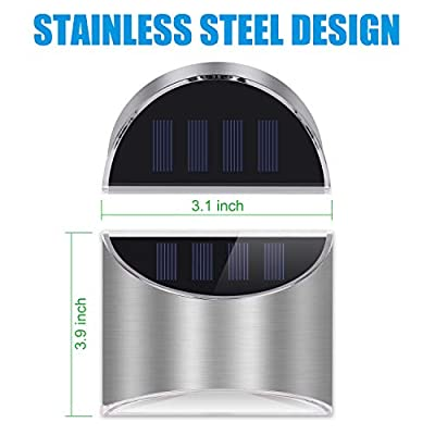 LeiDrail Solar Step Lights Outdoor Deck Fence Light Stainless Steel Waterproof LED Illuminated Lighting for Stair Post Yard - 2 Pack