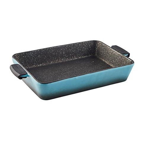 Axentia Stoneware Baking Tray Sorrel - Stoneware Lasagna Dish - Ceramic Cookware in Blue Non-Stick Lasagna Dish - Lasagna Dish with Detachable Silicone Grips - Stoneware Braising Pan - Cookware