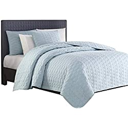 Bourina Reversible Quilt Coverlet Set Queen - Microfiber Lightweight Bedspread 3-Piece Quilt Set, Blue