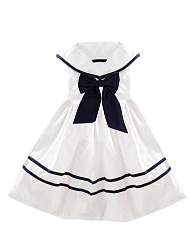 YJ.GWL Girls Nautical Sailor Dresses with Bow-Tie White Casual Sleeveless Dress for 4-5 Years Size 120 White