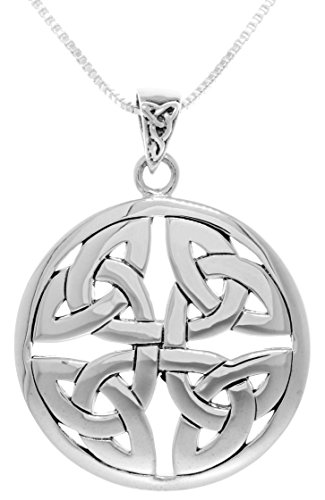 Jewelry Trends Sterling Silver Celtic Trinity Knot Medallion Pendant on 20 Inch Box Chain Necklace